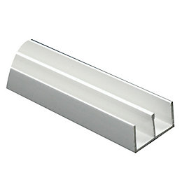 White PVC Double U Profile (H)10.5mm (W)21mm (L)1m