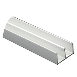 White PVC Double U Profile (H)20mm (W)10.5mm (L)2m
