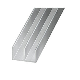 Aluminium Double U Profile (H)6mm (W)16mm (L)2m