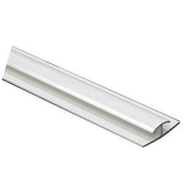 White PVC T Profile (H)8mm (W)8mm (L)1m