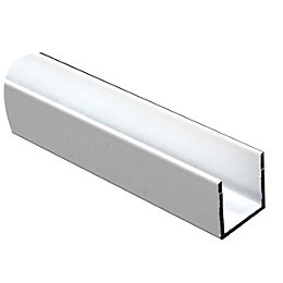 Lacquered White Aluminium U Profile (H)15mm (W)15mm (L)1m