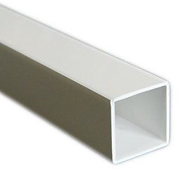 White Plastic Square Tube, (W)15mm (L)1m