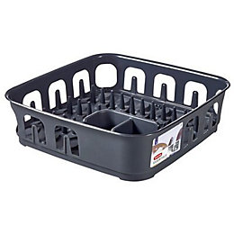 Curver Essentials Dark Grey Square Dish Drainer