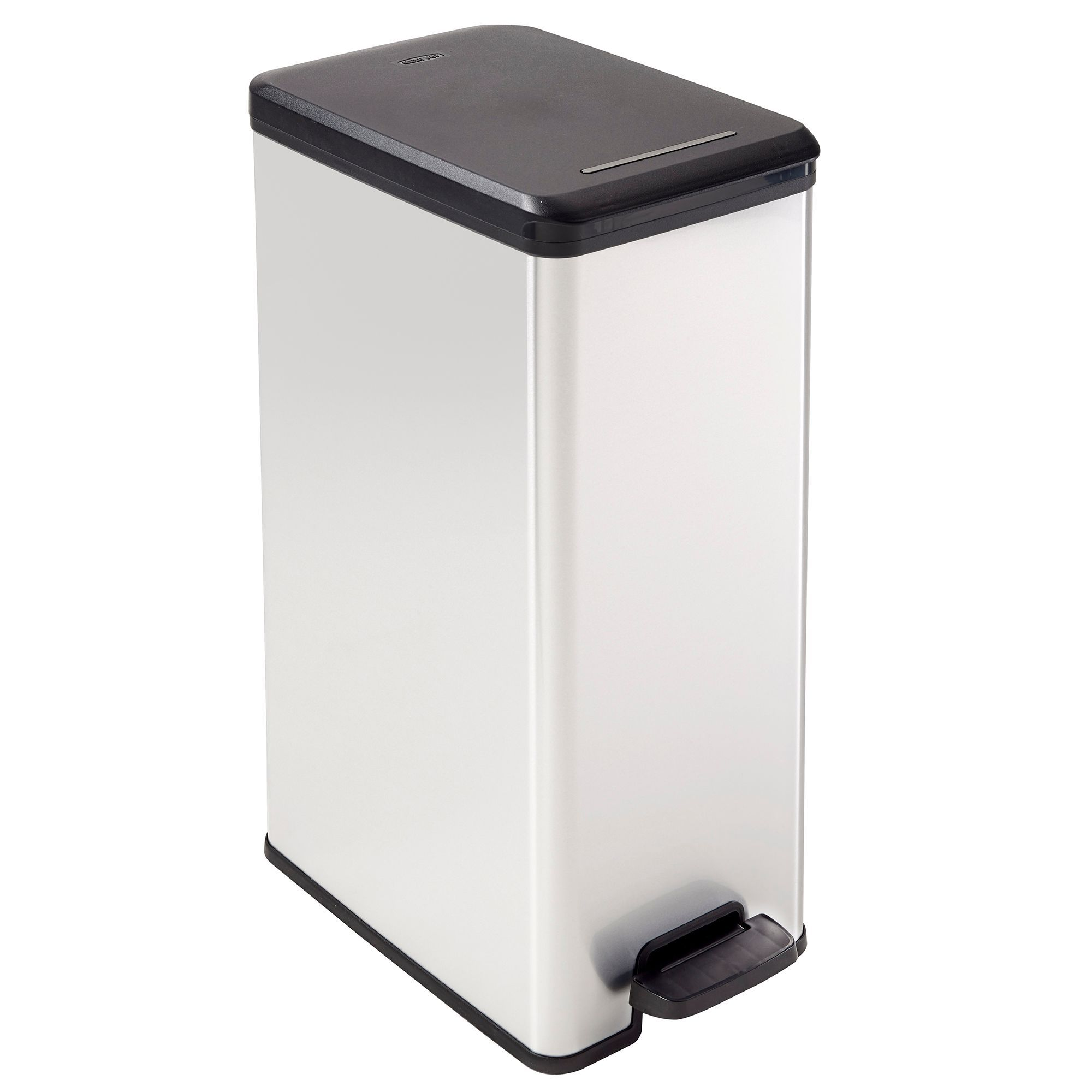 curver slim metal effect plastic rectangular pedal bin. Black Bedroom Furniture Sets. Home Design Ideas