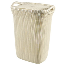 Curver Knit Collection White 57L Plastic Laundry Basket