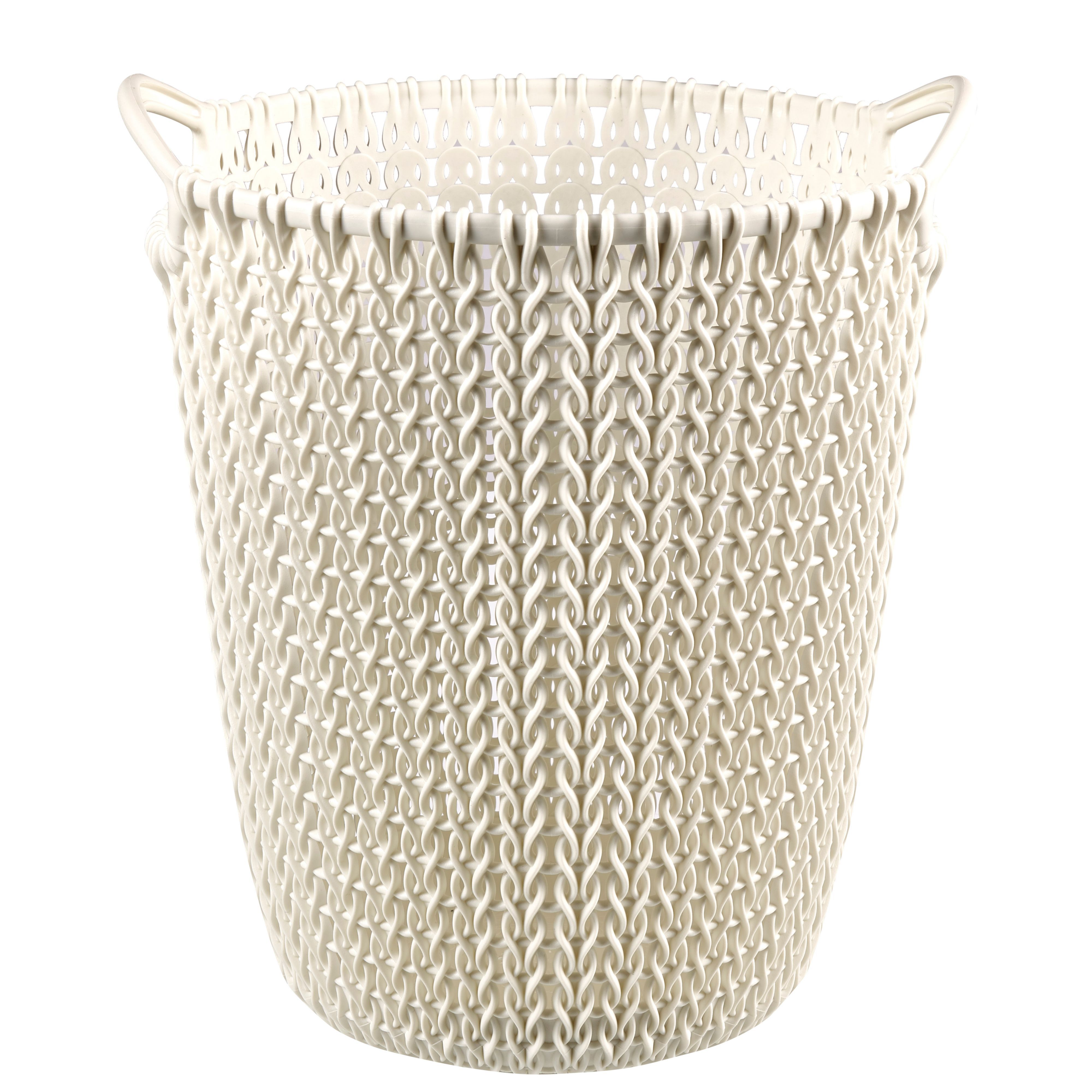 Curver Knit Effect Oasis White Plastic Circular Paper Bin