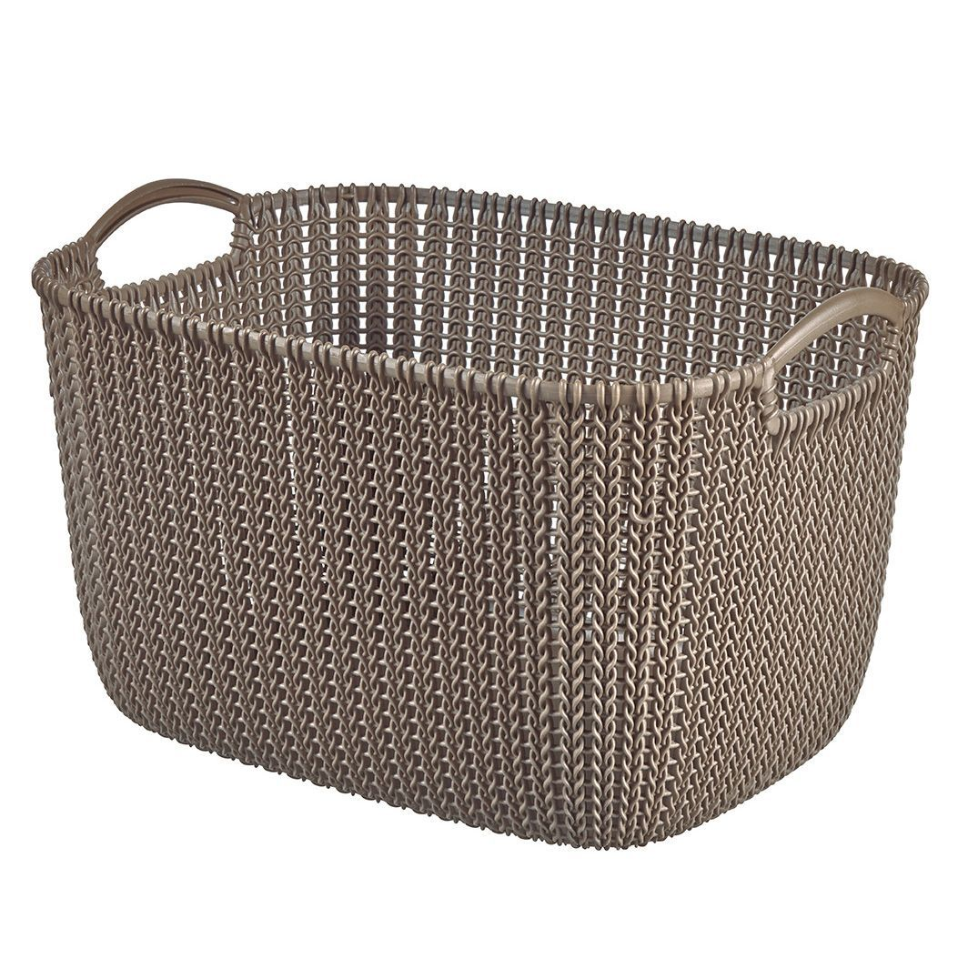 Curver Sand Knit Storage Baskets: Curver Knit Collection Harvest Brown 19L Plastic Storage