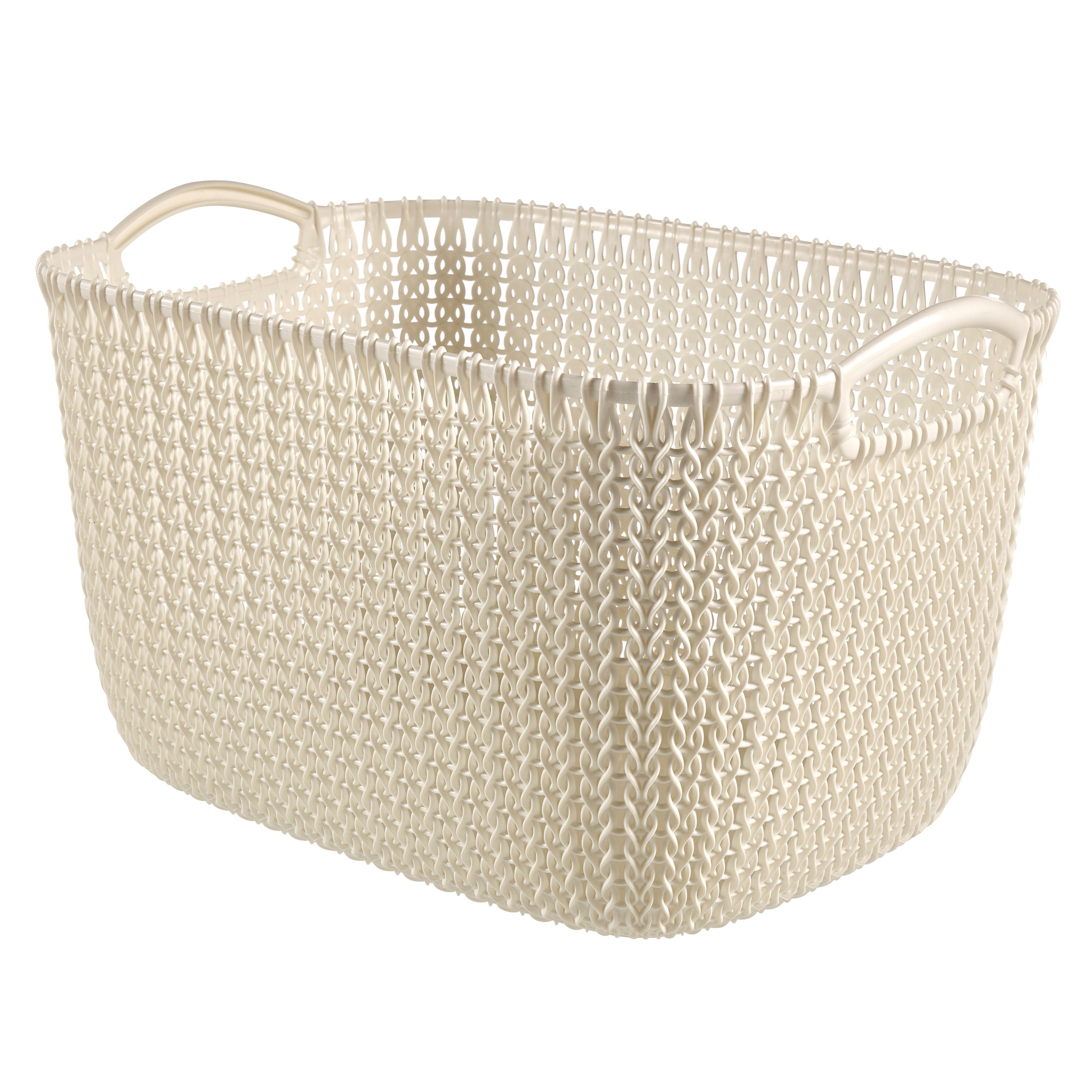 Curver Sand Knit Storage Baskets: Curver White Plastic Storage Basket