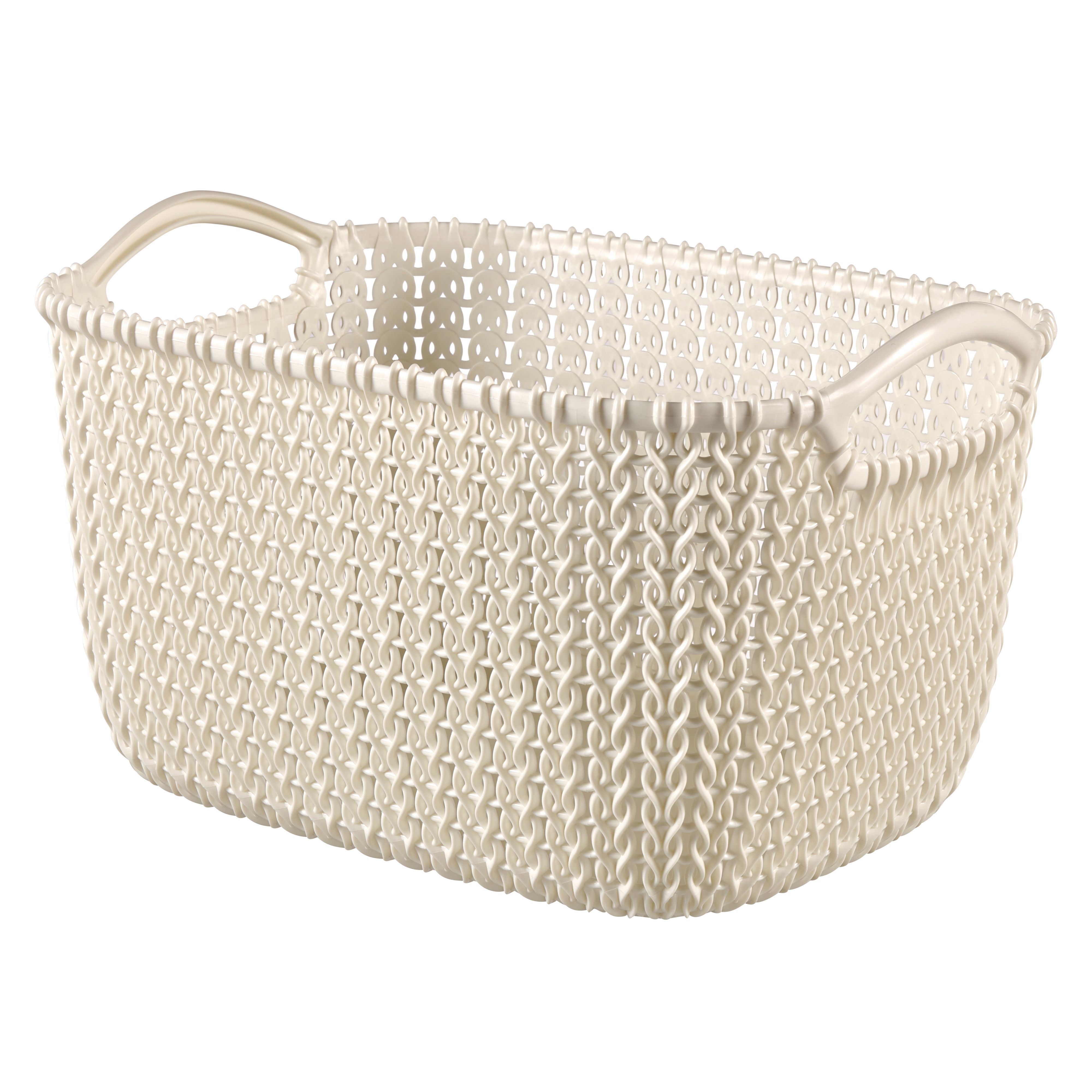 Curver Sand Knit Storage Baskets: Curver Knit Collection Oasis White 3L Plastic Storage