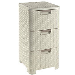 Curver Vintage White Plastic 3 Drawer Storage Tower