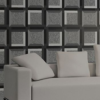 Muriva 3D squares charcoal geometric wallpaper