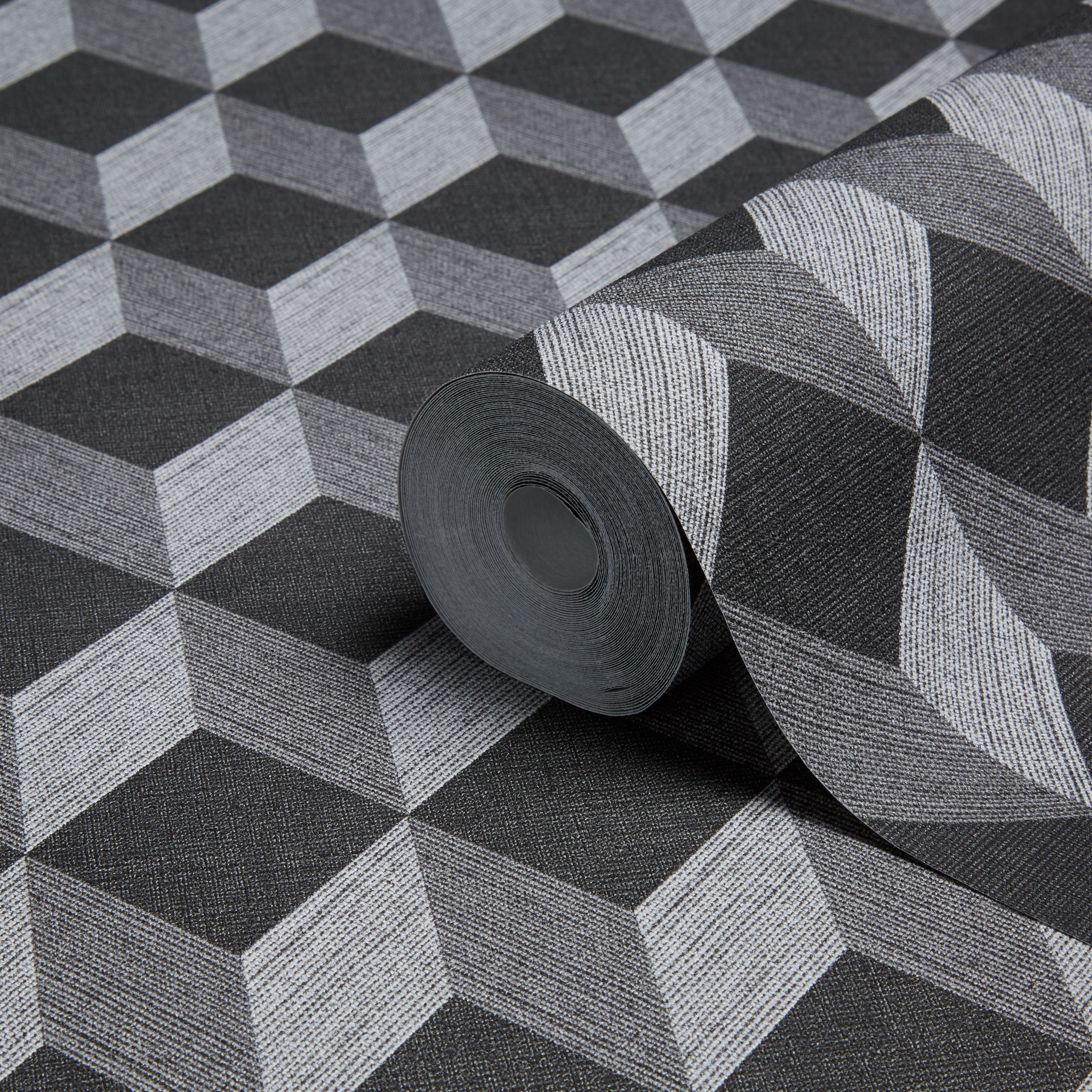 Muriva Cubix Black Geometric Wallpaper   Departments   DIY ...
