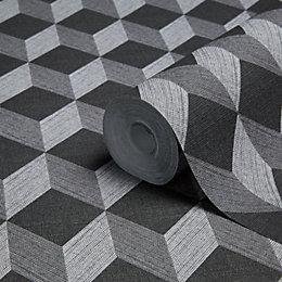 Muriva Cubix Black Geometric Wallpaper