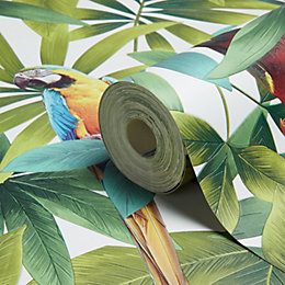 Muriva Parrots White Wallpaper