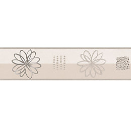 Lutece Spiral Flower Cream Floral Border