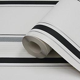 Lutece Black & Silver Stripe Metallic Effect Wallpaper