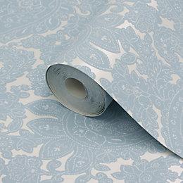 Lutece Paisley Blue Paisley Damask Mica Wallpaper