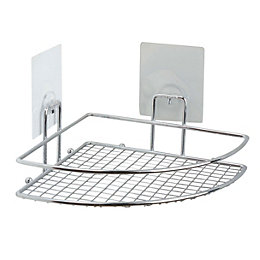 Bath Chrome Effect Corner Shelf (L)200mm