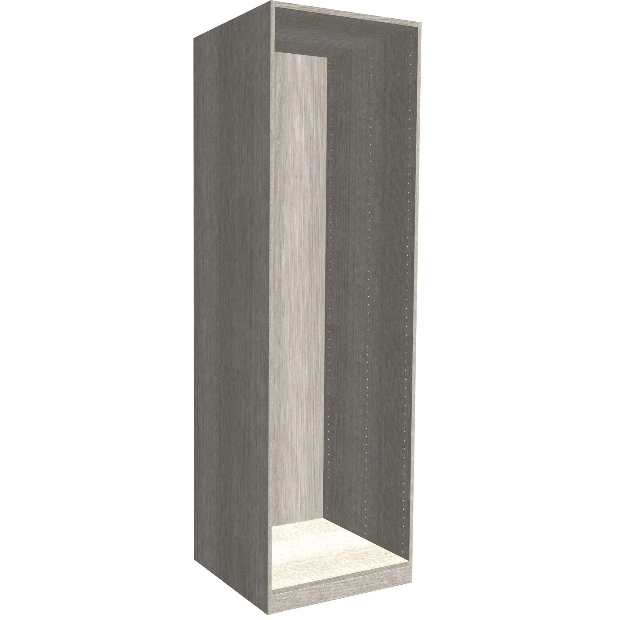 Darwin Modular Grey & Oak Effect Tall Wardrobe Cabinet (h)2356mm (w)500mm (d)566mm