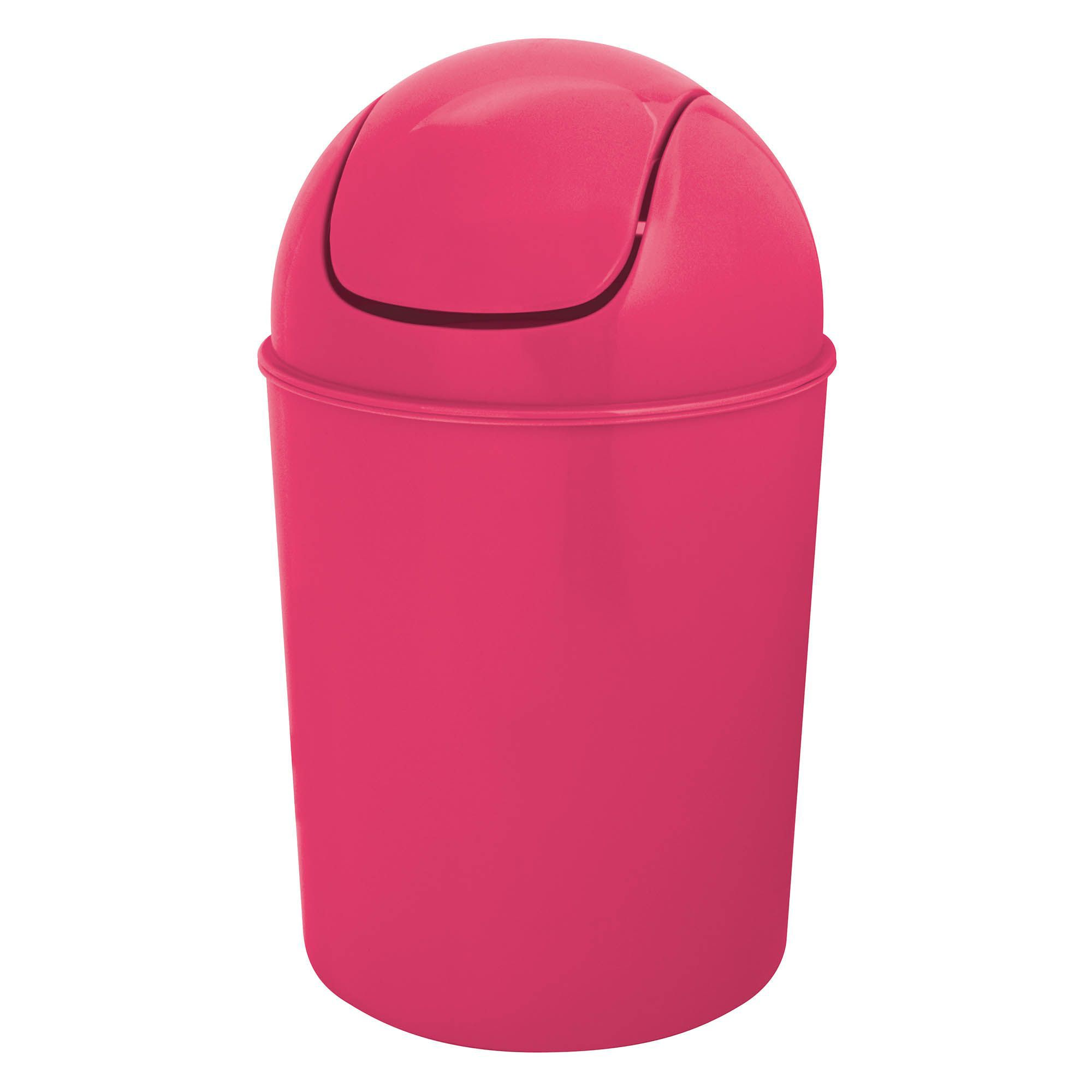 Flip top pink plastic bathroom bin 5l departments diy for Pink bathroom bin