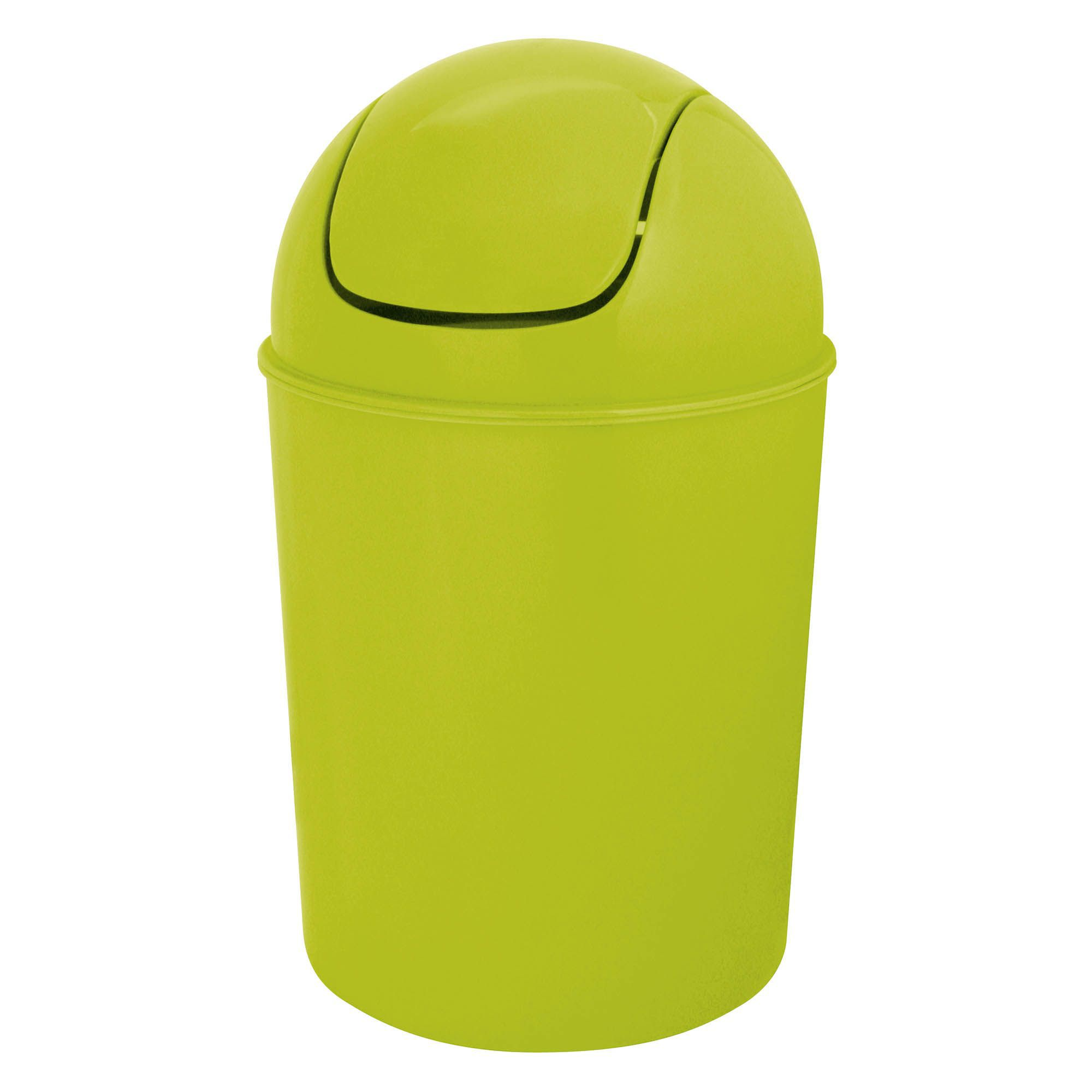 Flip top lime green plastic bathroom bin 5l departments for Green bathroom bin