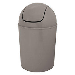 Flip Top Taupe Plastic Bathroom Bin, 5L