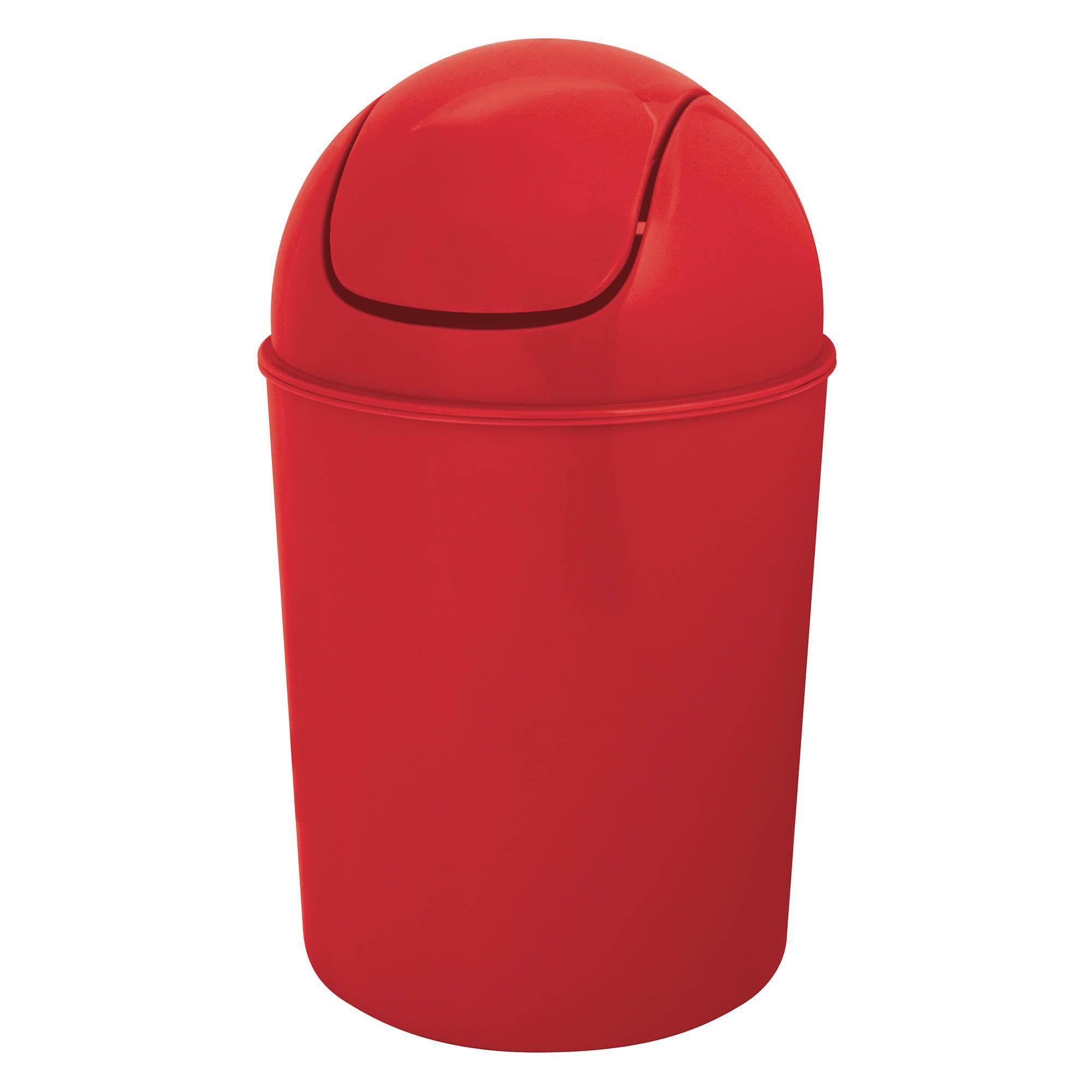 Flip top red plastic bathroom bin 5l departments diy for Red bathroom bin