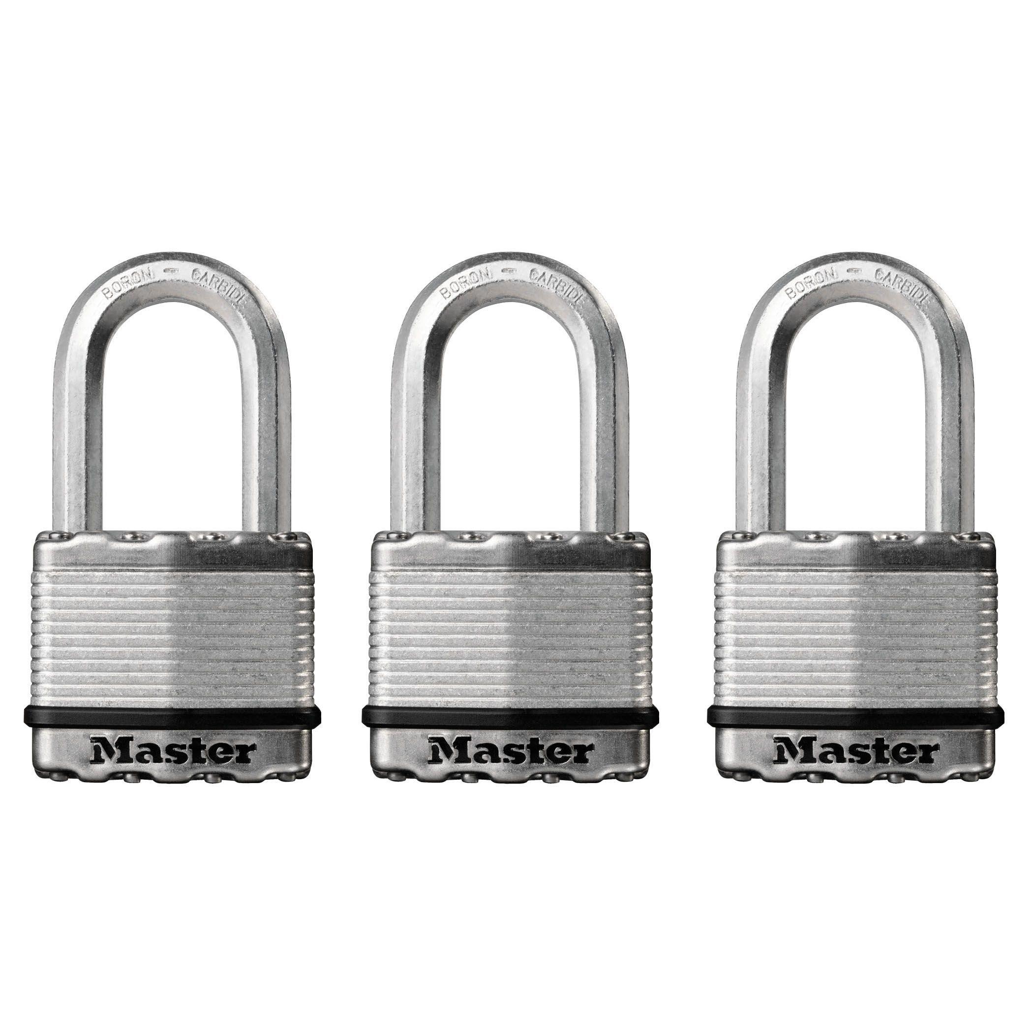 Master Lock Steel Pin Tumbler Octagonal Open Shackle Padlock (w)50mm, Pack Of 3