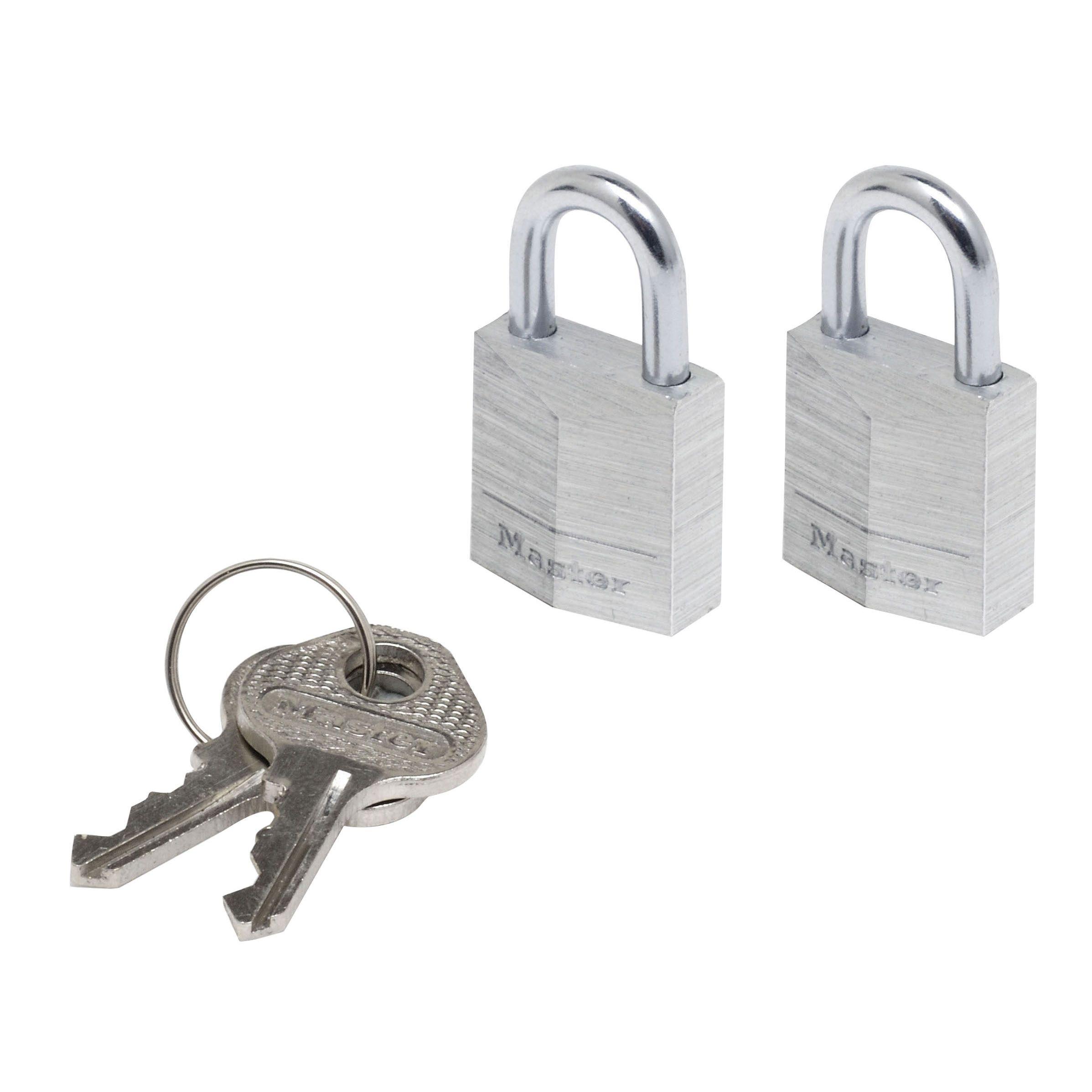 Master Lock Aluminium Pin Tumbler Open Shackle Padlock (w)20mm, Pack Of 2