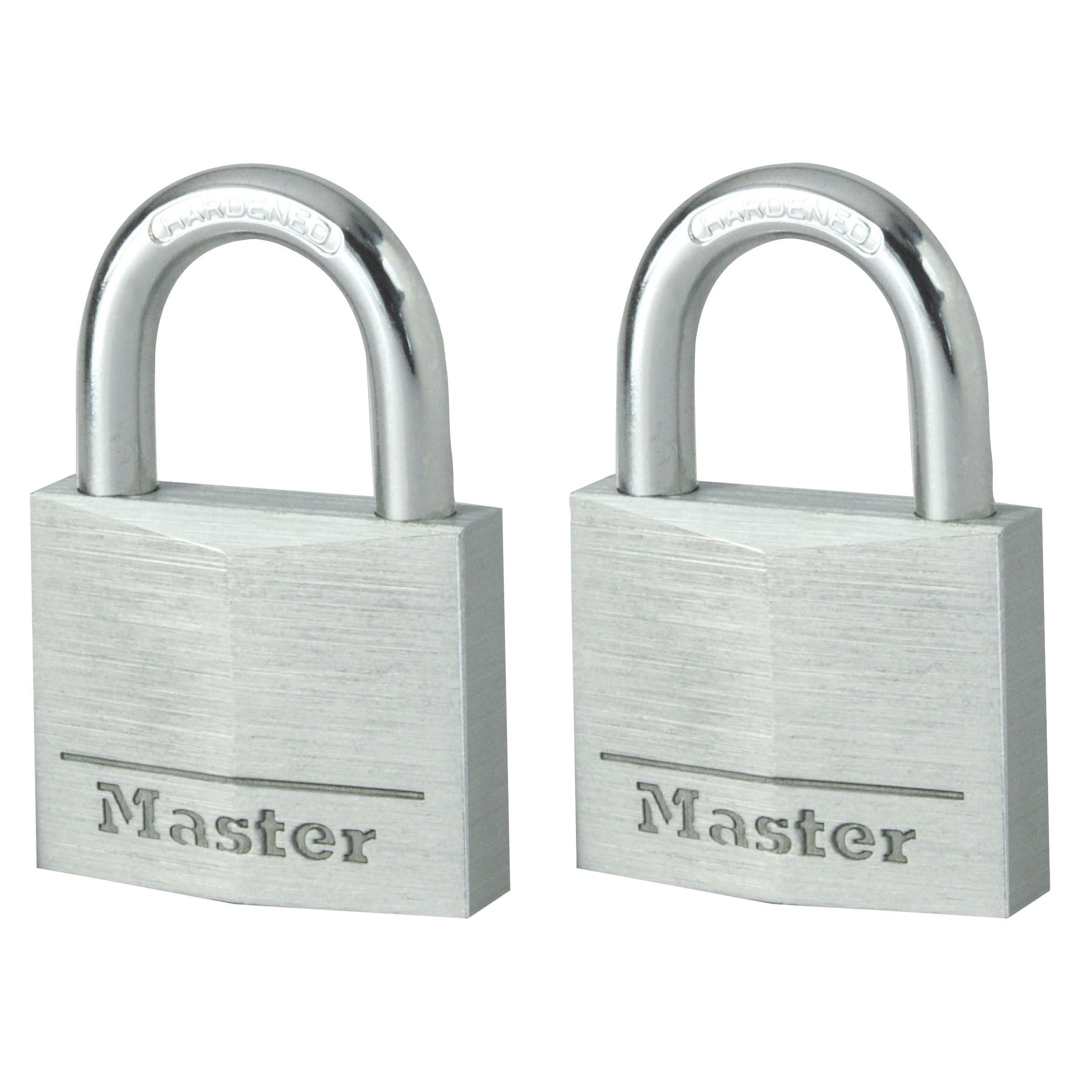 Master Lock Steel 3-pin Tumbler Open Shackle Padlock (w)30mm, Pack Of 2