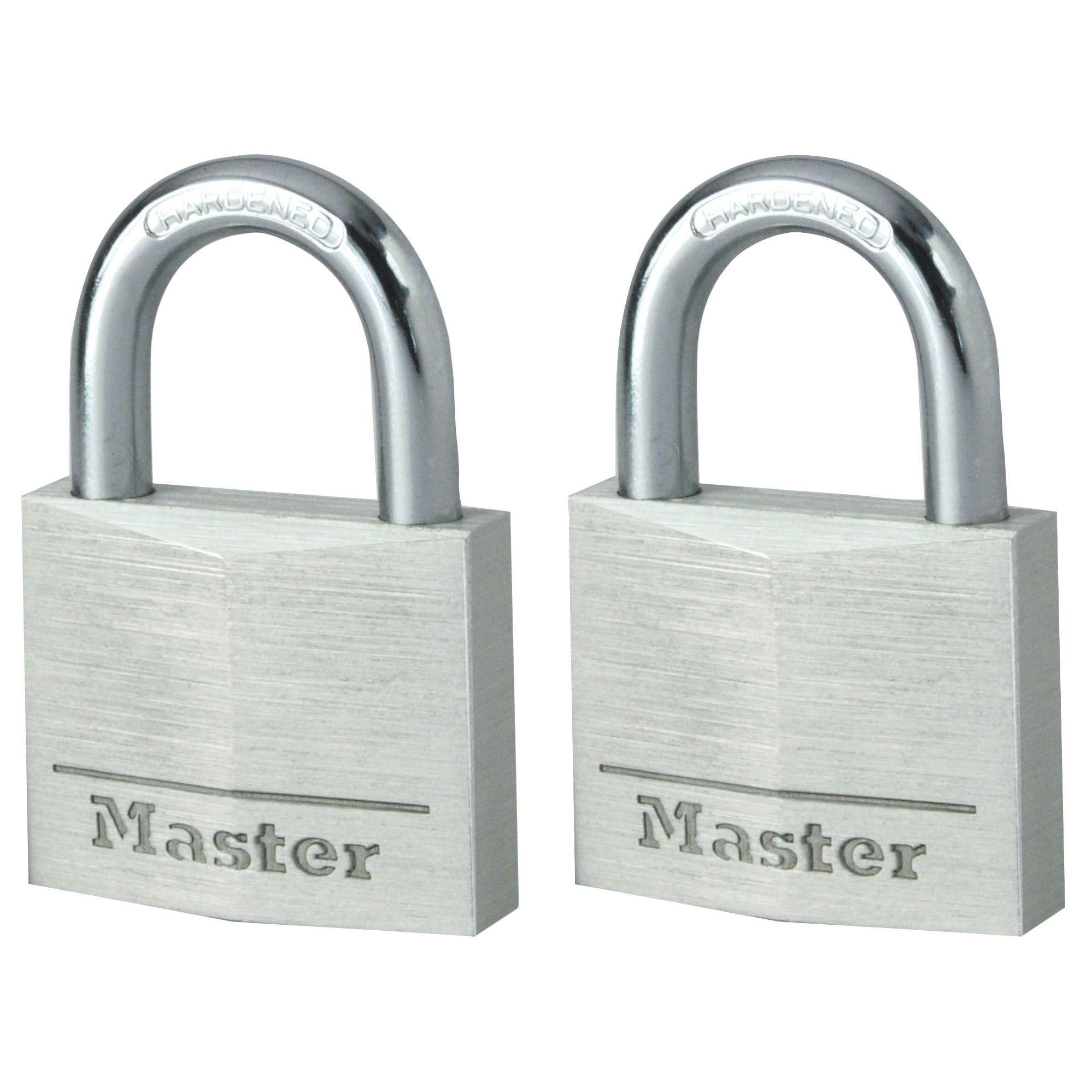 Master Lock Aluminium Pin Tumbler Open Shackle Padlock (w)40mm, Pack Of 2