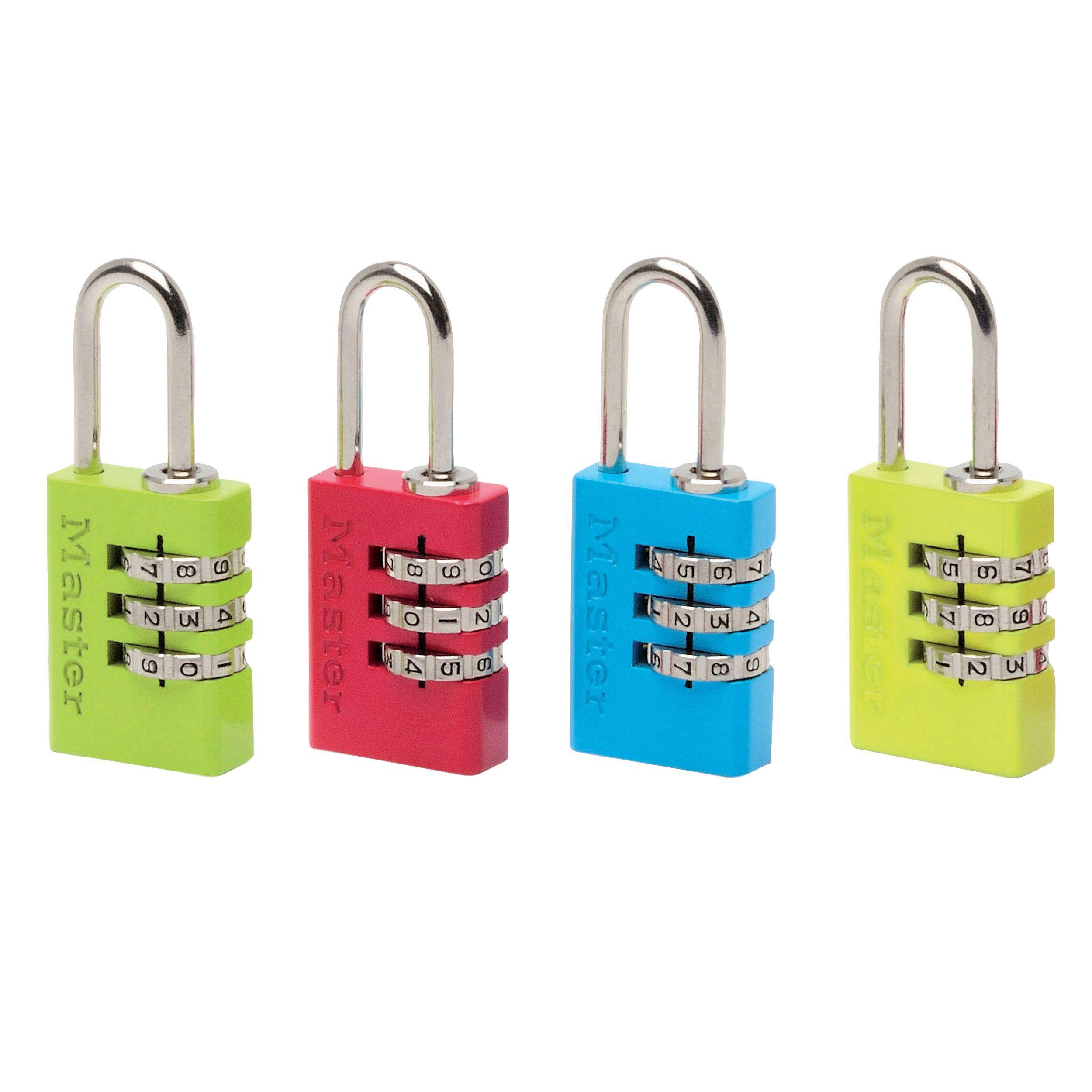 Master Lock Luggage Aluminium Resettable Combination Steel Padlock (w)20mm