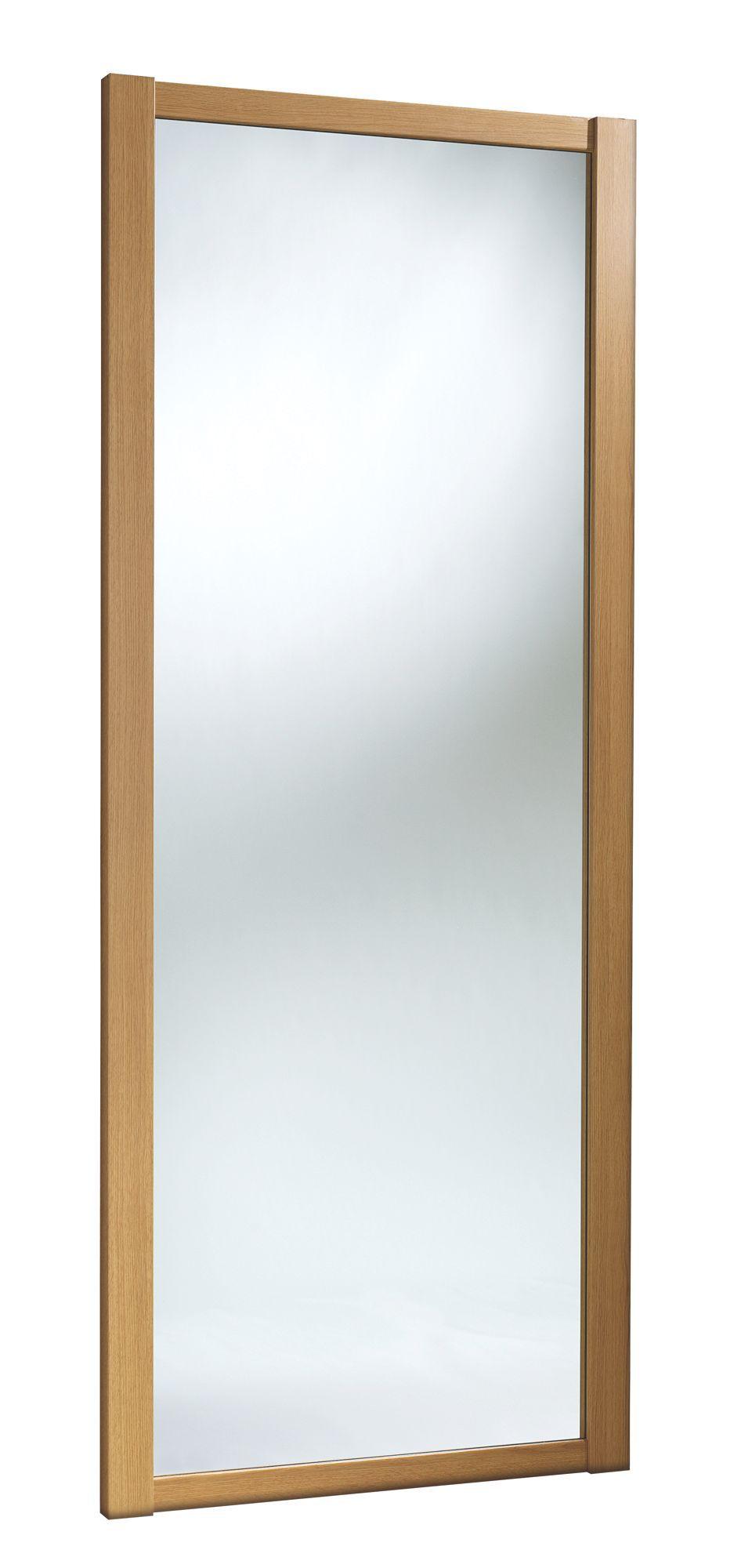 Traditional full length mirror natural oak effect sliding for B q bedrooms sliding wardrobe doors