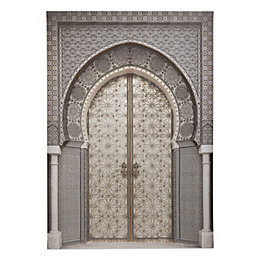 Oriental Door Grey Embellished Canvas (W)925mm (H)650mm