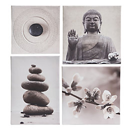 Buddha Grey Canvas (W)60cm (H)55cm Set of 4