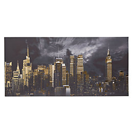 Nyc Cityscape Multicolour Foil Canvas Art (W)1150mm (H)550mm