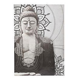 Buddha Grey Embellished Canvas (W)925mm (H)650mm