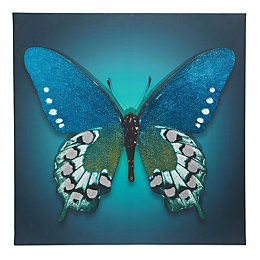 Butterfly Blue Glitter Canvas (W)750mm (H)750mm