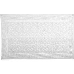 Marinette Saint-Tropez Astone White Tile Cotton Bath Mat