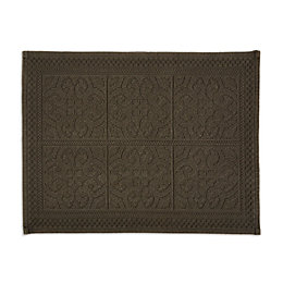 Marinette Saint-Tropez Astone Black Tile Cotton Bath Mat