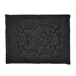 Marinette Saint-Tropez Platinum Black Floral Cotton Bath Mat