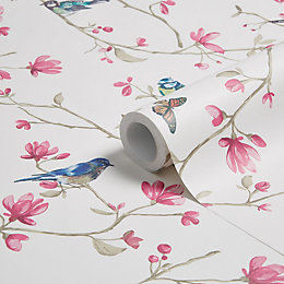 Colours Dhara Dusky Pink Floral Birds Mica Wallpaper