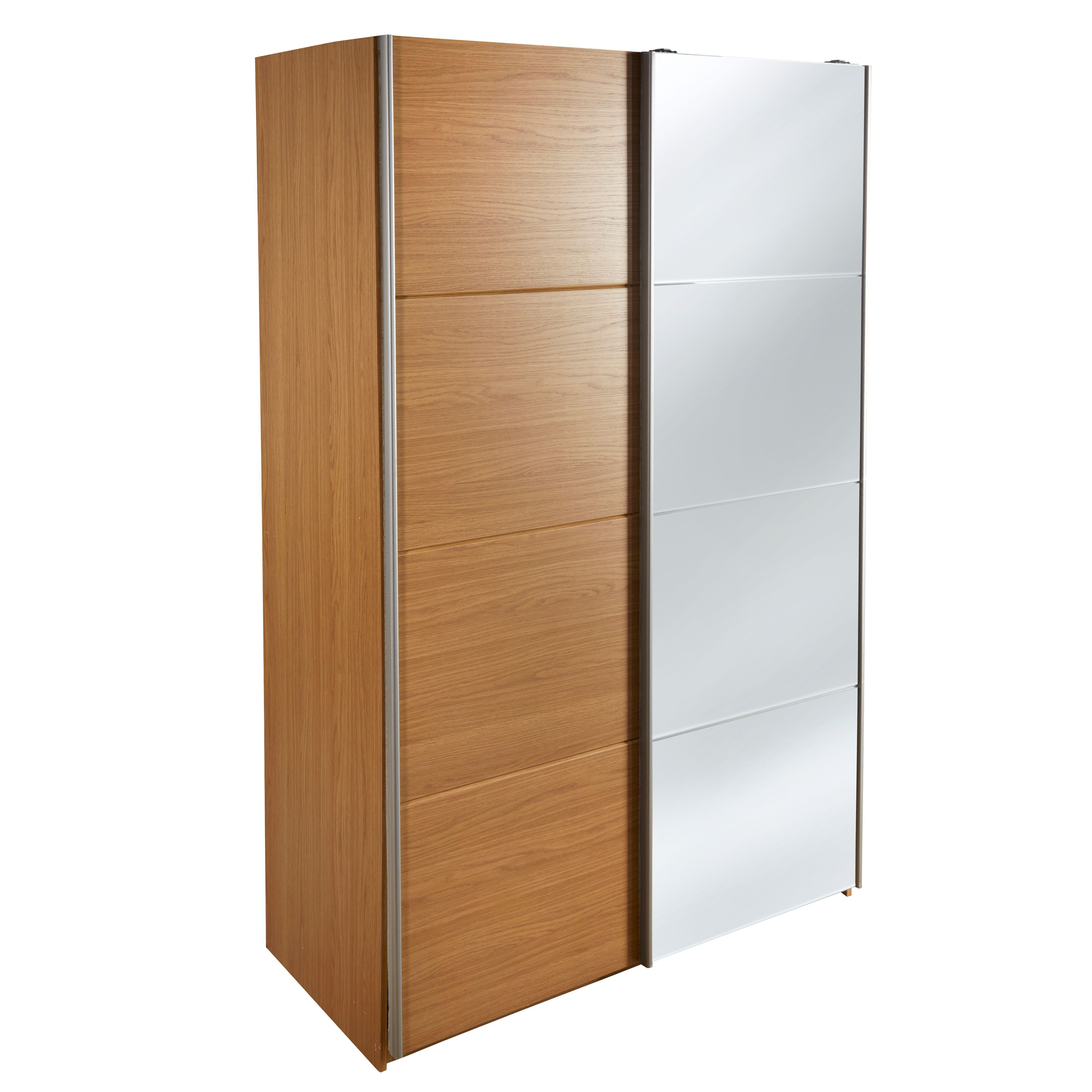 Kendal Oak Effect 2 Door Mirror Wardrobe (H)2054mm (W)1300mm | Departments  | DIY at B&Q