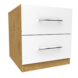 Darwin White & Oak Effect 2 Drawer Bedside