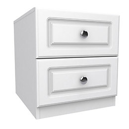 Darwin White 2 Drawer Bedside Chest (H)546mm (W)500mm