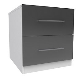 Darwin Handpicked Anthracite & White 2 Drawer Bedside