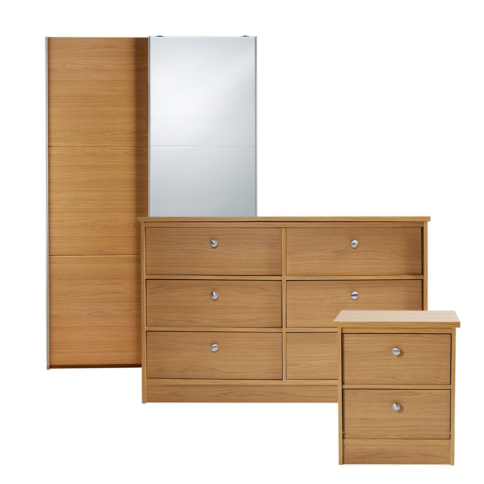 Oak Effect Bedroom Furniture Sets Isabella White 3 Piece Bedroom Furniture Set Departments Diy