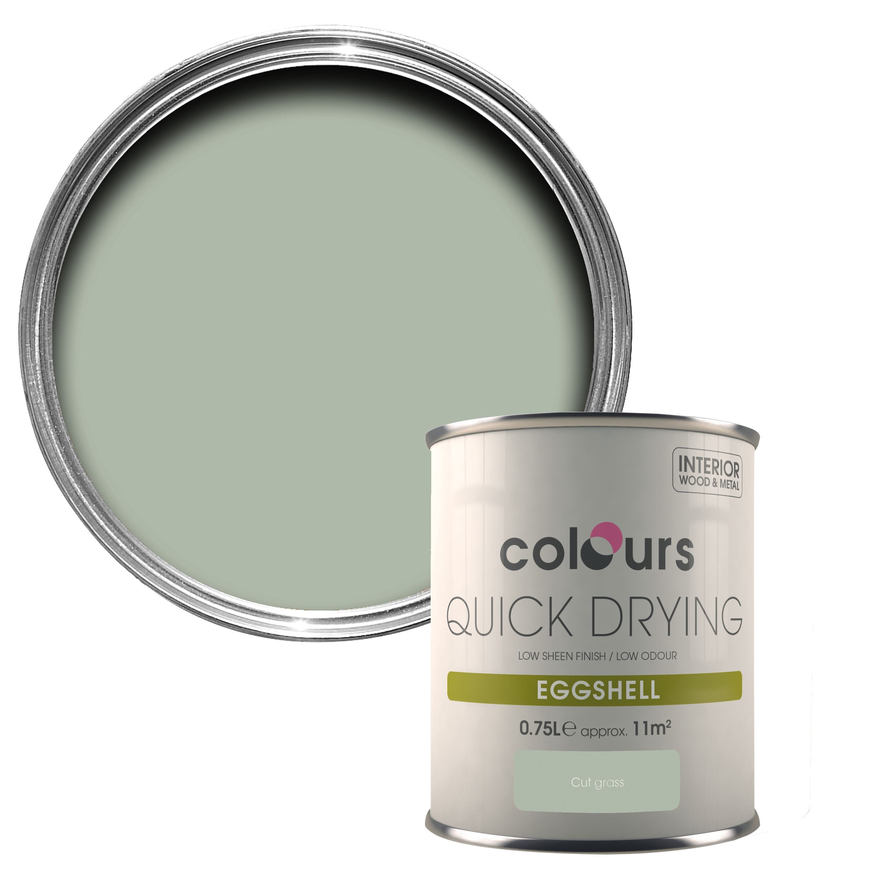 colours quick dry cut grass eggshell wood & metal paint 750 ml