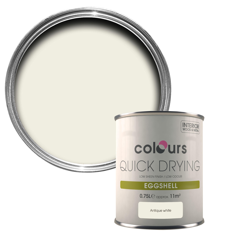 Colours Quick Dry Antique White Eggs Wood Metal Paint 750 Ml Departments Diy At B Q