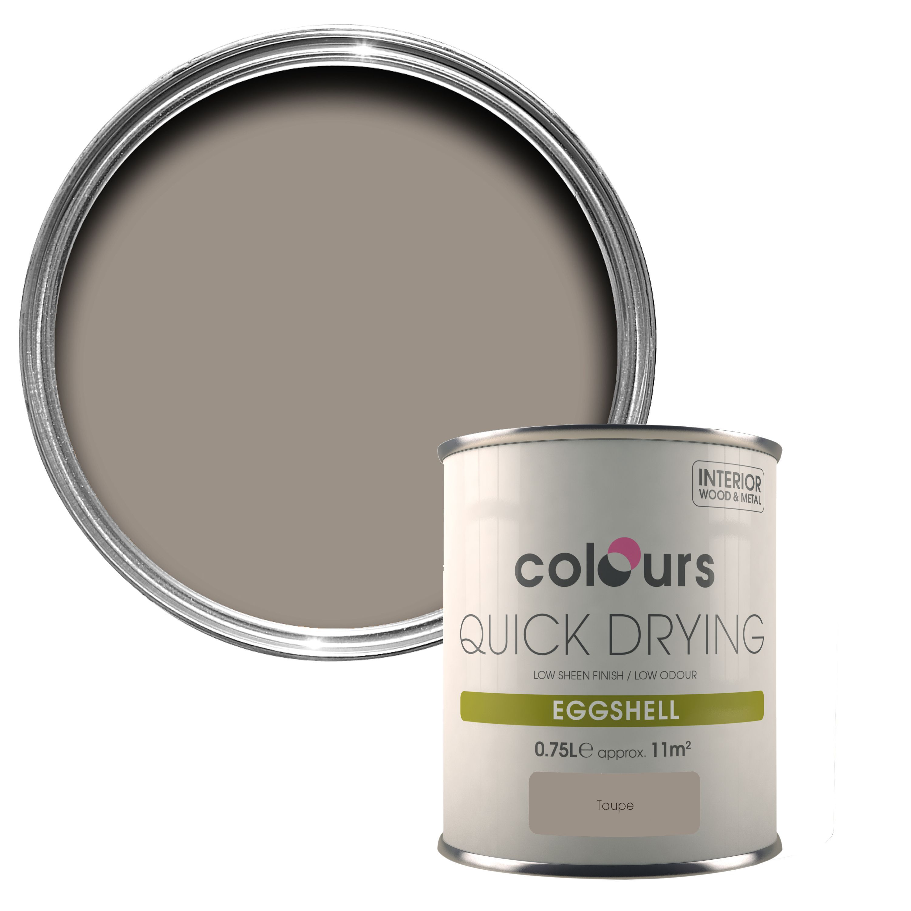 Colours Quick Dry Taupe Eggshell Wood & Metal Paint 750 Ml